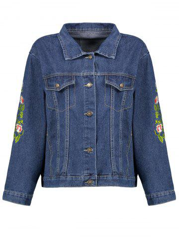 Cheap Plus Size Floral Embroidered  Denim Jacket