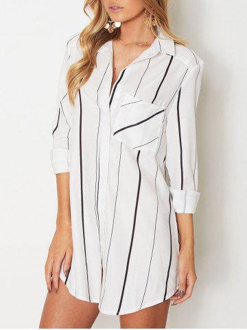 Chic Shirt Collar Striped Shirt with Pocket WHITE L