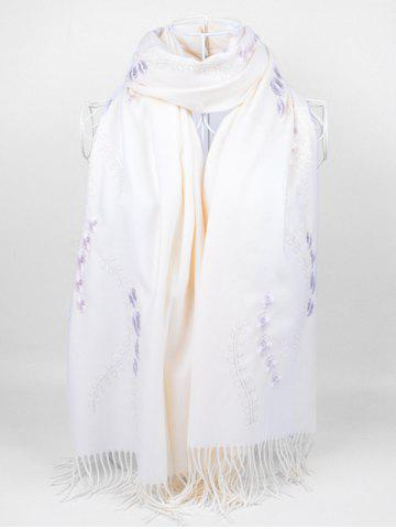 Chic Vintage Small Flower Embroidery Fringed Long Scarf