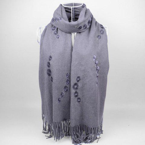 New Vintage Small Flower Embroidery Fringed Long Scarf GRAY