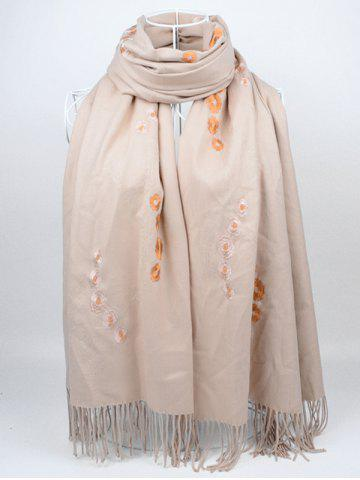 Online Vintage Small Flower Embroidery Fringed Long Scarf KHAKI