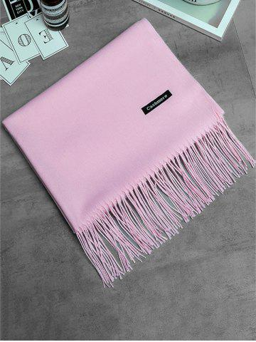 Shop Soft Artificial Cashmere Fringed Long Scarf - PINK  Mobile