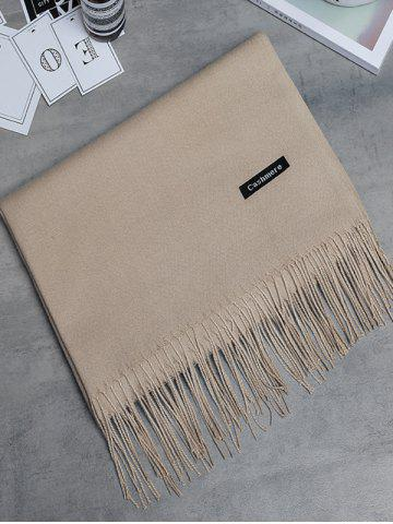 New Soft Artificial Cashmere Fringed Long Scarf KHAKI