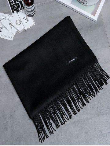 Discount Soft Artificial Cashmere Fringed Long Scarf - BLACK  Mobile