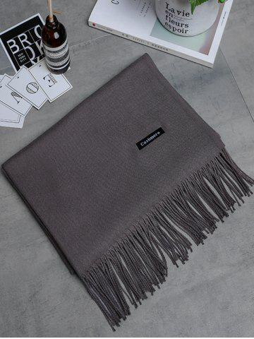 Online Soft Artificial Cashmere Fringed Long Scarf DARK KHAKI