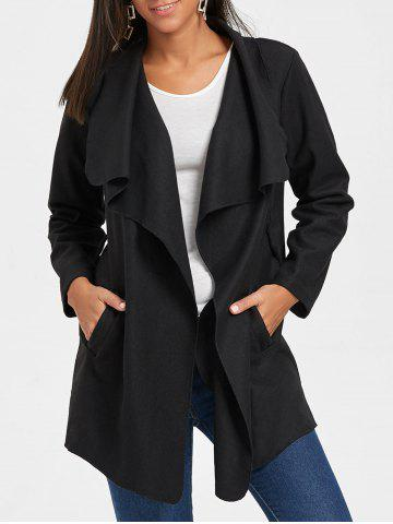 Online Belted Tunic Draped Wool Coat - M BLACK Mobile
