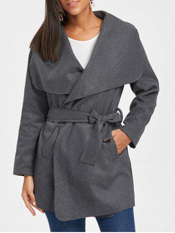 Online Belted Tunic Draped Wool Coat - XL DARK GRAY Mobile