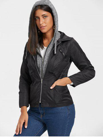 Affordable Hooded Faux Twinset Double Zipper Jacket BLACK L