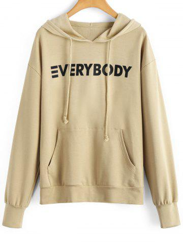 Shop Contrasting Letter Oversized Hoodie - M APRICOT Mobile