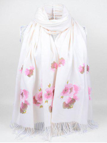 Affordable Vintage  Floral Embroidery Ethinc Style Fringed Scarf WHITE