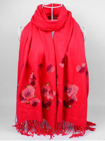 Unique Vintage  Floral Embroidery Ethinc Style Fringed Scarf BRIGHT RED