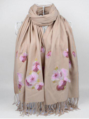Cheap Vintage  Floral Embroidery Ethinc Style Fringed Scarf