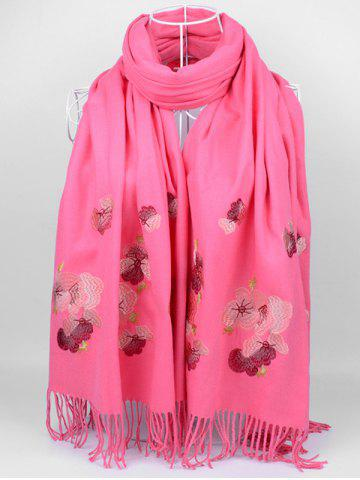 Online Vintage  Floral Embroidery Ethinc Style Fringed Scarf