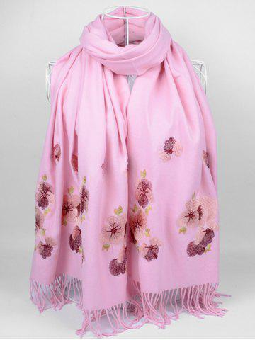 Shop Vintage  Floral Embroidery Ethinc Style Fringed Scarf