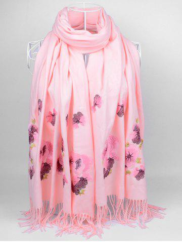 Unique Vintage  Floral Embroidery Ethinc Style Fringed Scarf - LIGHT PINK  Mobile