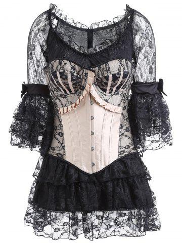 Fancy Renaissance Corset Top and Sheer Ruffles Dress COLORMIX S