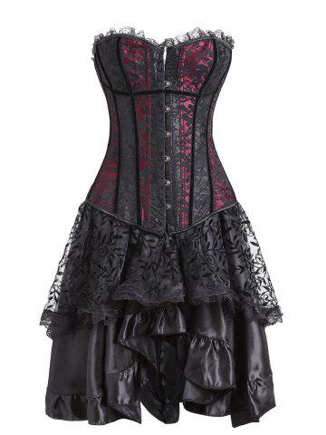 Online Flounce Lace Two Piece Corset Dress - S RED Mobile