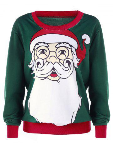 Shops Christmas Santa Claus Print Plus Size Sweatshirt DEEP GREEN 4XL