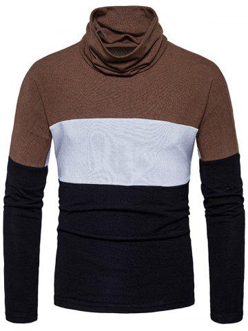 Turtle Neck Color Block Slim Fit Knitted Sweater