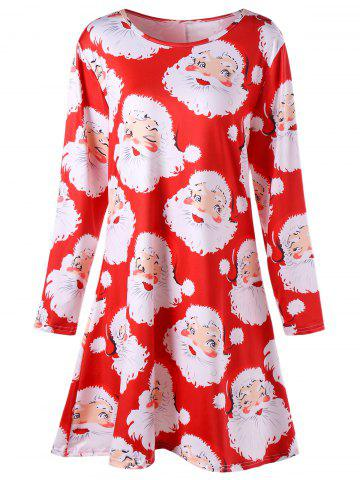 Santa Claus Print Mini Plus Size Swing Skater Dress