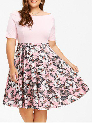 Hot Plus Size Floral Print Boat Neck Dress