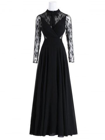 Sale Bowknot Lace Insert Maxi Prom Evening Dress