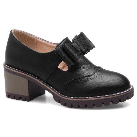 Latest Chunky Heel Scalloped Bowknot Ankle Boots
