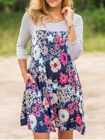 Latest Floral Striped Casual Dress