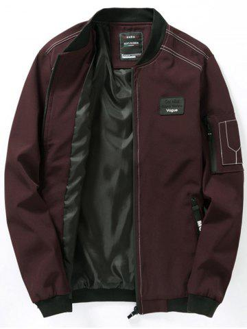 Casual Bomber Jacket with Sleeve Pocket