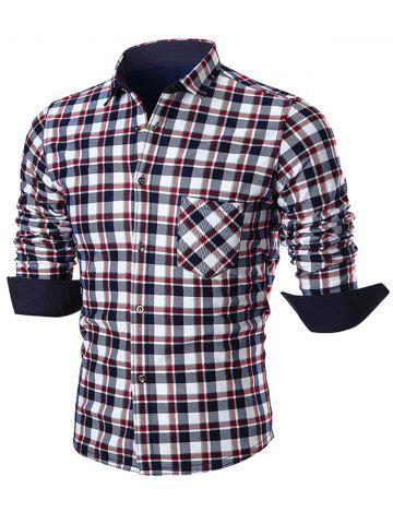 Fashion Pocket Turn Down Collar Plaid Shirt