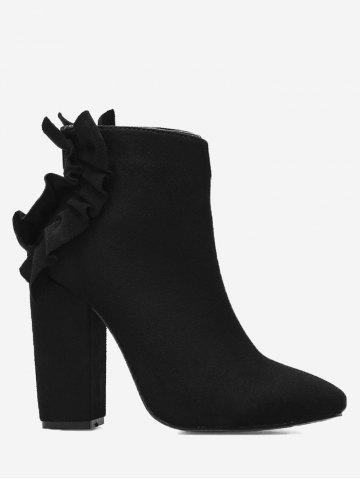 Unique Curve Ruffles Chunky Heel Boots