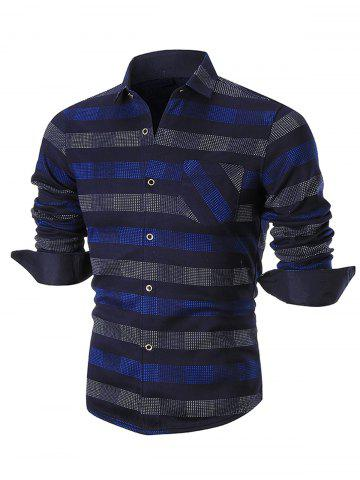 Discount Turn-down Collar Color Block Checkered Shirt
