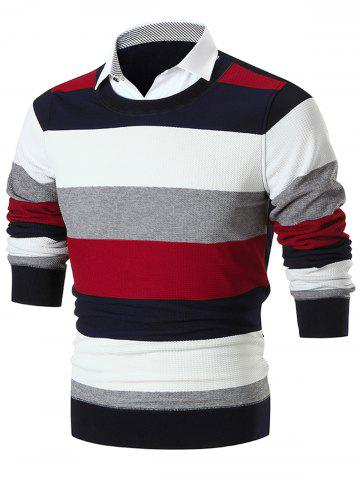 Fashion Shirt Collar False Two Piece Wide Stripe Sweater