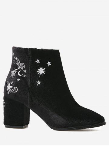 Outfits Moon Stars Embroidery Ankle Boots