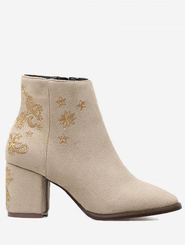 Shops Moon Stars Embroidery Ankle Boots
