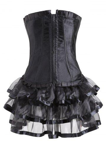 Buy Two Piece Lace-up Flounce Corset Dress