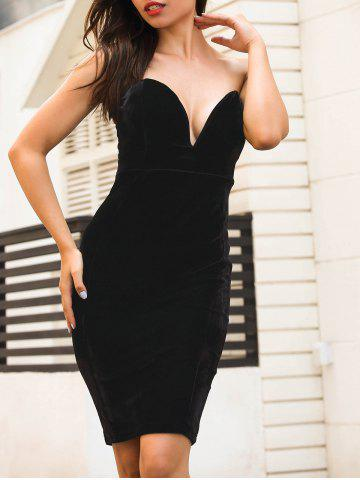Unique Plunging Neckline Velvet Strapless Tight Dress
