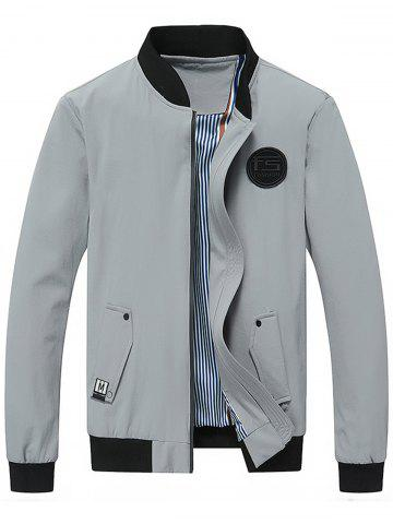 Rubber Patch Zip Up Jacket - GRAY - 4XL