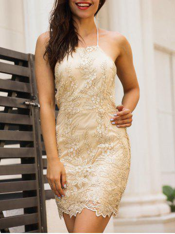 Discount Embroidery Halter Neck Open Back Dress