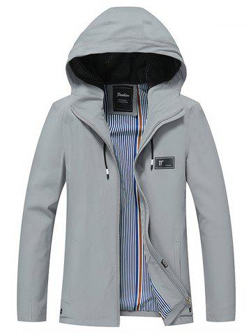 Number Rubber Patched Hooded Jacket