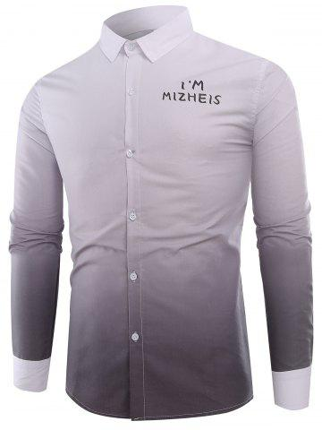 New Ombre Graphic Print Long Sleeve Shirt