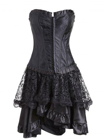 Cheap Two Piece Lace-up Flounce Corset Dress