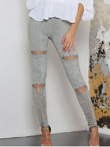 New Faux Suede High Waist Lace Up Pants