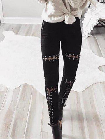 Trendy Faux Suede High Waist Lace Up Pants