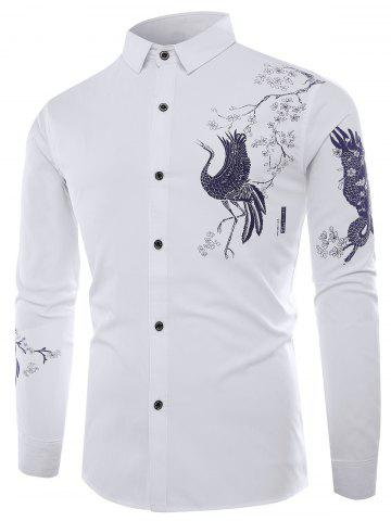Best Chinoiserie Bird Print Long Sleeve Shirt