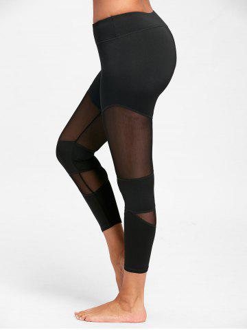 Cheap Sheer Workout  Leggings with Mesh Insert