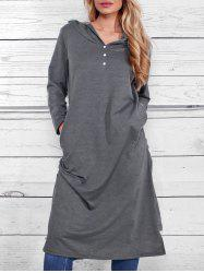 Casual Side Ruched Hooded Dress -