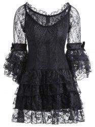 Vintage Corset Top and Sheer Voile Dress - BLACK S