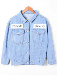 Flap Pockets Faded Jean Jacket - DENIM BLUE L