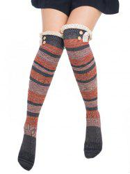 Pair of Button Decorated Lace Edge Knee Highs Socks -